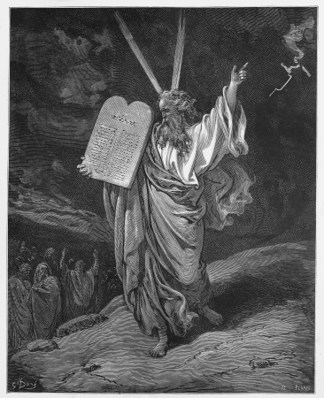 Moses comes down from the mountain with the tablets of Law - Picture from The Holy Scriptures, Old and New Testaments books collection published in 1885, Stuttgart-Germany. Drawings by Gustave Dore.  Editorial