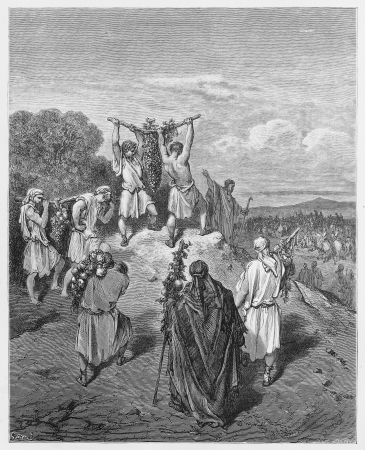 testaments: Return of the Spies From the Land of Promise - Picture from The Holy Scriptures, Old and New Testaments books collection published in 1885, Stuttgart-Germany. Drawings by Gustave Dore.