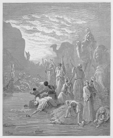 Moses striking the rock in Horeb - Picture from The Holy Scriptures, Old and New Testaments books collection published in 1885, Stuttgart-Germany. Drawings by Gustave Dore.