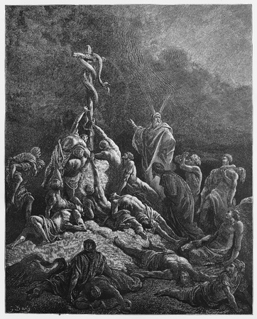 testaments: The Bronze Serpent - Picture from The Holy Scriptures, Old and New Testaments books collection published in 1885, Stuttgart-Germany. Drawings by Gustave Dore.