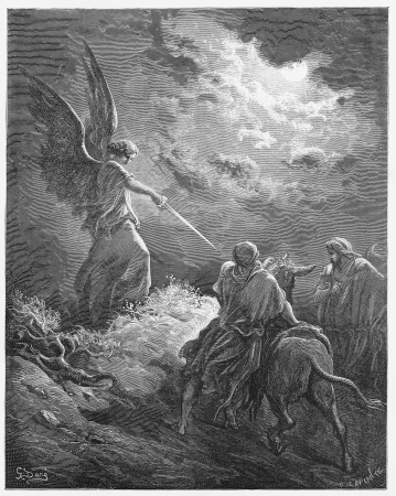 angels bible: Balaam meets an angel - Picture from The Holy Scriptures, Old and New Testaments books collection published in 1885, Stuttgart-Germany. Drawings by Gustave Dore.