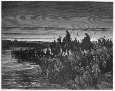 The Israelites cross the Jordan river - Picture from The Holy Scriptures, Old and New Testaments books collection published in 1885, Stuttgart-Germany. Drawings by Gustave Dore.