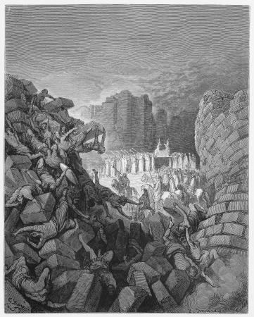 The walls of Jericho fall down - Picture from The Holy Scriptures, Old and New Testaments books collection published in 1885, Stuttgart-Germany. Drawings by Gustave Dore.  Stock Photo - 16225045