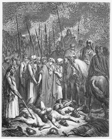 joshua: Joshua spares Rahab - Picture from The Holy Scriptures, Old and New Testaments books collection published in 1885, Stuttgart-Germany. Drawings by Gustave Dore.