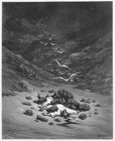 historical periods: Achan Is stoned to death - Picture from The Holy Scriptures, Old and New Testaments books collection published in 1885, Stuttgart-Germany. Drawings by Gustave Dore.  Editorial
