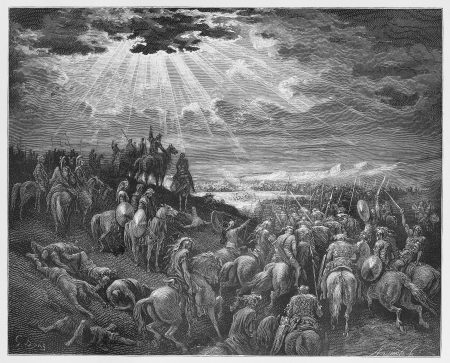 joshua: Joshua praying for the sun to stand still - Picture from The Holy Scriptures, Old and New Testaments books collection published in 1885, Stuttgart-Germany. Drawings by Gustave Dore.