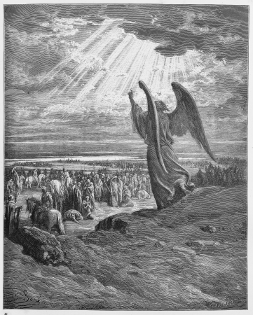 holy bible: An Angel appears to the Israelites - Picture from The Holy Scriptures, Old and New Testaments books collection published in 1885, Stuttgart-Germany. Drawings by Gustave Dore.