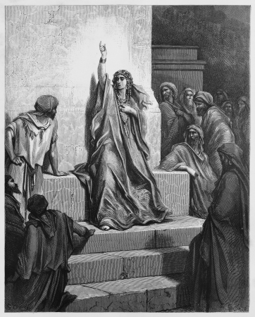 biblical: Deborah - Picture from The Holy Scriptures, Old and New Testaments books collection published in 1885, Stuttgart-Germany. Drawings by Gustave Dore.