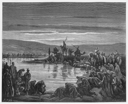 Gideon choosing his soldiers - Picture from The Holy Scriptures, Old and New Testaments books collection published in 1885, Stuttgart-Germany. Drawings by Gustave Dore.