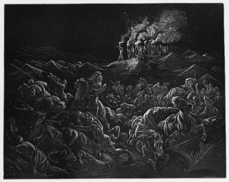 routed: The Midianites are routed - Picture from The Holy Scriptures, Old and New Testaments books collection published in 1885, Stuttgart-Germany. Drawings by Gustave Dore.