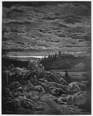 The death of Gideon`s sons - Picture from The Holy Scriptures, Old and New Testaments books collection published in 1885, Stuttgart-Germany. Drawings by Gustave Dore. Editorial