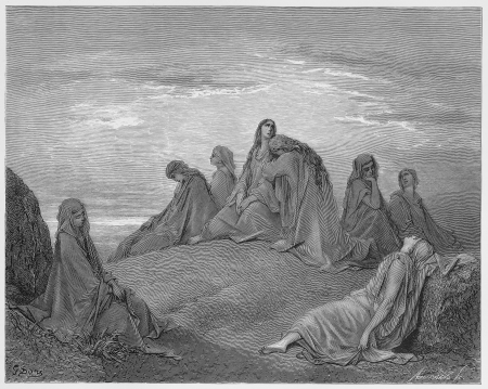 israelite: Israelite women mourn with Jephthah`s daughter - Picture from The Holy Scriptures, Old and New Testaments books collection published in 1885, Stuttgart-Germany. Drawings by Gustave Dore. Editorial