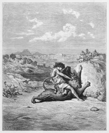 representations: Samson slaying the Lion - Picture from The Holy Scriptures, Old and New Testaments books collection published in 1885, Stuttgart-Germany. Drawings by Gustave Dore.