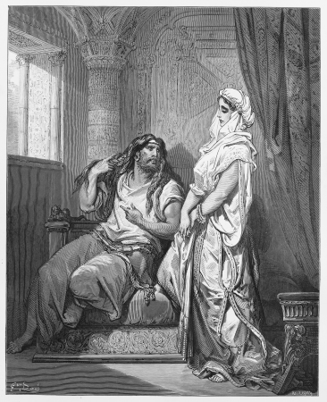 testaments: Samson and Delilah - Picture from The Holy Scriptures, Old and New Testaments books collection published in 1885, Stuttgart-Germany. Drawings by Gustave Dore. Editorial
