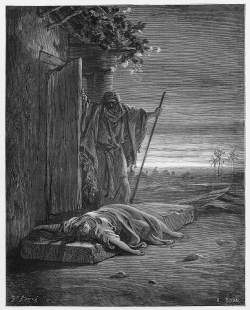 israelite: The Israelite discovers his concubine dead - Picture from The Holy Scriptures, Old and New Testaments books collection published in 1885, Stuttgart-Germany. Drawings by Gustave Dore.