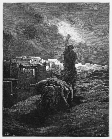 The Levite carries the woman`s body away - Picture from The Holy Scriptures, Old and New Testaments books collection published in 1885, Stuttgart-Germany. Drawings by Gustave Dore.  Editorial