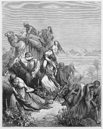 testaments: The Benjaminites take the virgins of Jabesh-gilead - Picture from The Holy Scriptures, Old and New Testaments books collection published in 1885, Stuttgart-Germany. Drawings by Gustave Dore.  Editorial