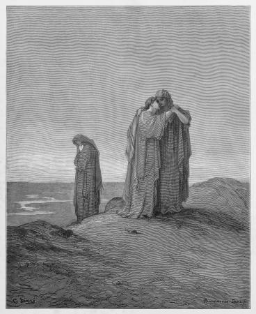 Ruth declares her love for her mother-in-law - Picture from The Holy Scriptures, Old and New Testaments books collection published in 1885, Stuttgart-Germany. Drawings by Gustave Dore.