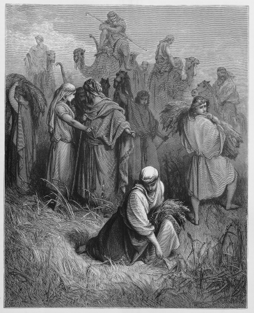 Ruth and Boaz - Picture from The Holy Scriptures, Old and New Testaments books collection published in 1885, Stuttgart-Germany. Drawings by Gustave Dore. Stock Photo - 16224875