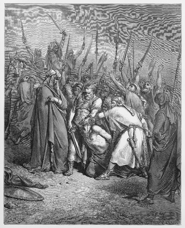 testaments: The death of Agag - Picture from The Holy Scriptures, Old and New Testaments books collection published in 1885, Stuttgart-Germany. Drawings by Gustave Dore.