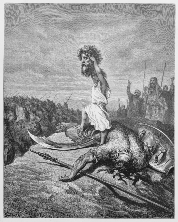 David slays Goliath - Picture from The Holy Scriptures, Old and New Testaments books collection published in 1885, Stuttgart-Germany. Drawings by Gustave Dore.  Editorial