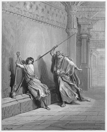 Saul and David - Picture from The Holy Scriptures, Old and New Testaments books collection published in 1885, Stuttgart-Germany. Drawings by Gustave Dore.