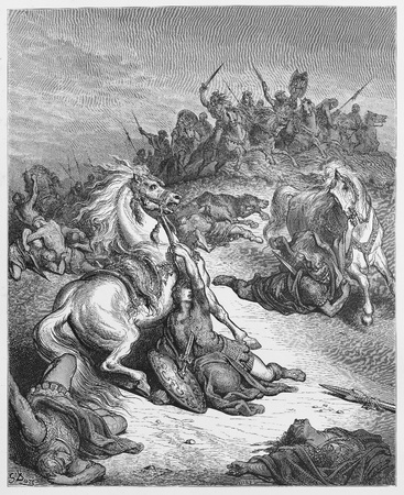 testaments: The death of Saul - Picture from The Holy Scriptures, Old and New Testaments books collection published in 1885, Stuttgart-Germany. Drawings by Gustave Dore. Editorial