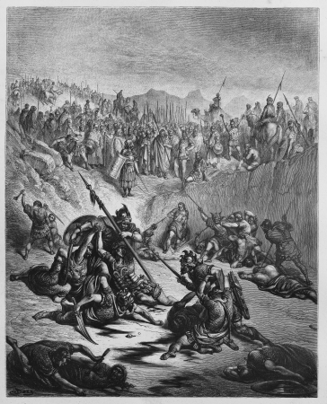 biblical: Combat Soldiers of Ish-bosheth and David - Picture from The Holy Scriptures, Old and New Testaments books collection published in 1885, Stuttgart-Germany. Drawings by Gustave Dore.  Editorial