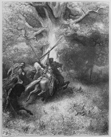 The death of Absalom - Picture from The Holy Scriptures, Old and New Testaments books collection published in 1885, Stuttgart-Germany. Drawings by Gustave Dore.  Stock Photo - 16284932
