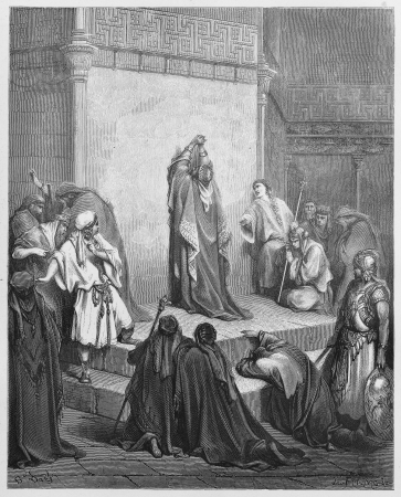 testaments: David mourns the death of Absalom - Picture from The Holy Scriptures, Old and New Testaments books collection published in 1885, Stuttgart-Germany. Drawings by Gustave Dore.