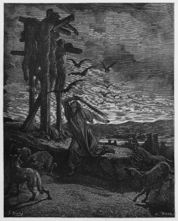 testaments: Rizpah kindness toward the dead - Picture from The Holy Scriptures, Old and New Testaments books collection published in 1885, Stuttgart-Germany. Drawings by Gustave Dore.  Editorial