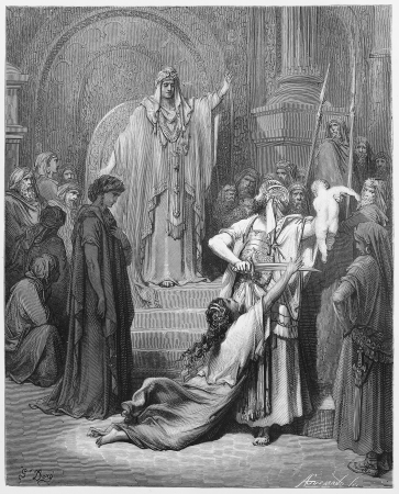 testament: Judgment of Solomon - Picture from The Holy Scriptures, Old and New Testaments books collection published in 1885, Stuttgart-Germany. Drawings by Gustave Dore.  Editorial