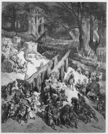 cedars: Cedars are cut down for the temple - Picture from The Holy Scriptures, Old and New Testaments books collection published in 1885, Stuttgart-Germany. Drawings by Gustave Dore.