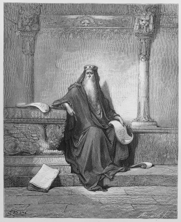 biblical: King Solomon - Picture from The Holy Scriptures, Old and New Testaments books collection published in 1885, Stuttgart-Germany. Drawings by Gustave Dore.