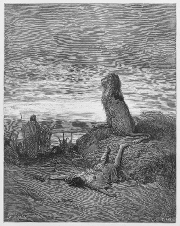 disobedient: The disobedient prophet is slain by a lion - Picture from The Holy Scriptures, Old and New Testaments books collection published in 1885, Stuttgart-Germany. Drawings by Gustave Dore.
