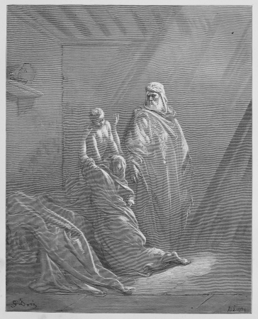 testaments: Elijah Raises the Son of the Widow of Zarephath - Picture from The Holy Scriptures, Old and New Testaments books collection published in 1885, Stuttgart-Germany. Drawings by Gustave Dore.