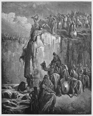 testaments: Slaughter of the Baal prophets - Picture from The Holy Scriptures, Old and New Testaments books collection published in 1885, Stuttgart-Germany. Drawings by Gustave Dore.  Editorial
