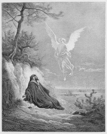holy angel: Elijah is nourished by an Angel - Picture from The Holy Scriptures, Old and New Testaments books collection published in 1885, Stuttgart-Germany. Drawings by Gustave Dore.