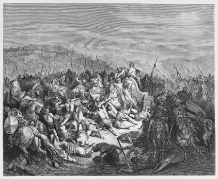 The Israelites slaughter the Syrians - Picture from The Holy Scriptures, Old and New Testaments books collection published in 1885, Stuttgart-Germany. Drawings by Gustave Dore.