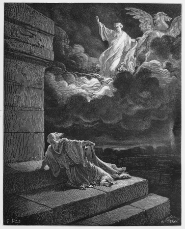 Elijah ascends to Heaven in a chariot of fire - Picture from The Holy Scriptures, Old and New Testaments books collection published in 1885, Stuttgart-Germany. Drawings by Gustave Dore.