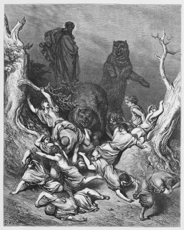 The Children Destroyed by Bears - Picture from The Holy Scriptures, Old and New Testaments books collection published in 1885, Stuttgart-Germany. Drawings by Gustave Dore.