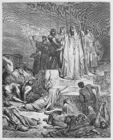 testaments: The Famine in Samaria - Picture from The Holy Scriptures, Old and New Testaments books collection published in 1885, Stuttgart-Germany. Drawings by Gustave Dore.