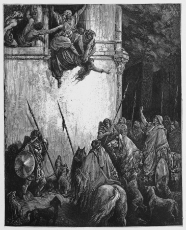 The Death of Jezebel - Picture from The Holy Scriptures, Old and New Testaments books collection published in 1885, Stuttgart-Germany. Drawings by Gustave Dore.