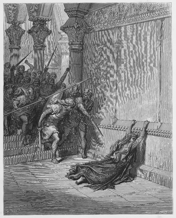 Death of Athaliah - Picture from The Holy Scriptures, Old and New Testaments books collection published in 1885, Stuttgart-Germany. Drawings by Gustave Dore.