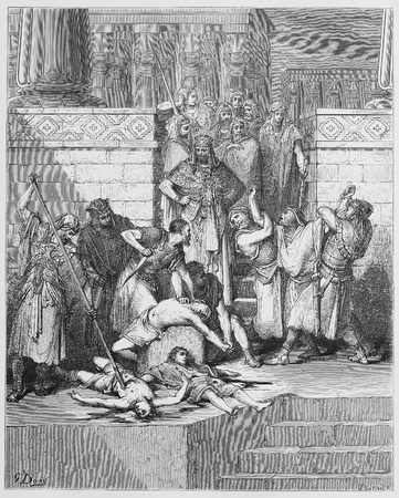 testaments: Slaughter of the sons of Zedekiah before their father - Picture from The Holy Scriptures, Old and New Testaments books collection published in 1885, Stuttgart-Germany. Drawings by Gustave Dore.  Editorial