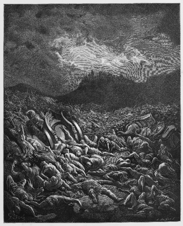 biblical: The destruction of the Ammonites and Moabites armies - Picture from The Holy Scriptures, Old and New Testaments books collection published in 1885, Stuttgart-Germany. Drawings by Gustave Dore.