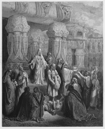 testaments: Cyrus king of Persia restores the gold and silver - Picture from The Holy Scriptures, Old and New Testaments books collection published in 1885, Stuttgart-Germany. Drawings by Gustave Dore.