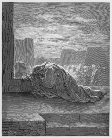 Ezra kneels in Prayer - Picture from The Holy Scriptures, Old and New Testaments books collection published in 1885, Stuttgart-Germany. Drawings by Gustave Dore.