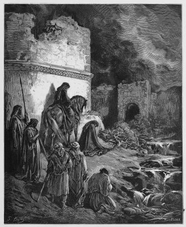 Nehemiah views the ruins of Jerusalem Editorial