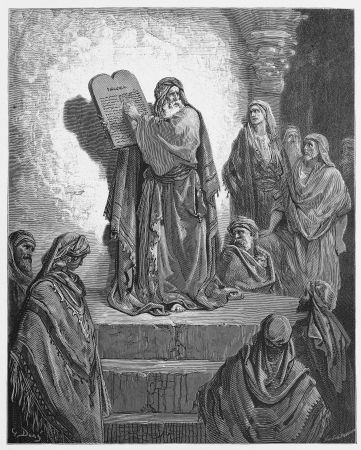 Ezra reads the Law to the Israelites - Picture from The Holy Scriptures, Old and New Testaments books collection published in 1885, Stuttgart-Germany. Drawings by Gustave Dore.  Editorial
